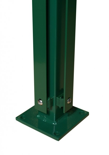 Eck-Pfosten mit Flacheisenleiste und Bodenplatte für Doppelstabmattenzaun