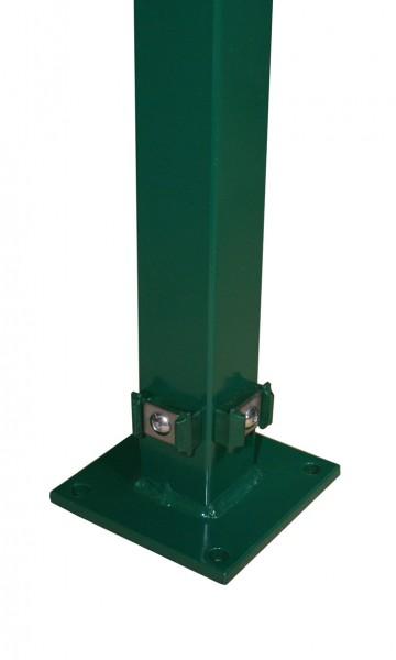 Eck-Pfosten mit Klemmhalter und Bodenplatte für Doppelstabmattenzaun